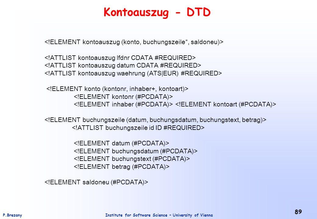 Kontoauszug - DTD <!ELEMENT kontoauszug (konto, buchungszeile*, saldoneu)> <!ATTLIST kontoauszug lfdnr CDATA #REQUIRED>