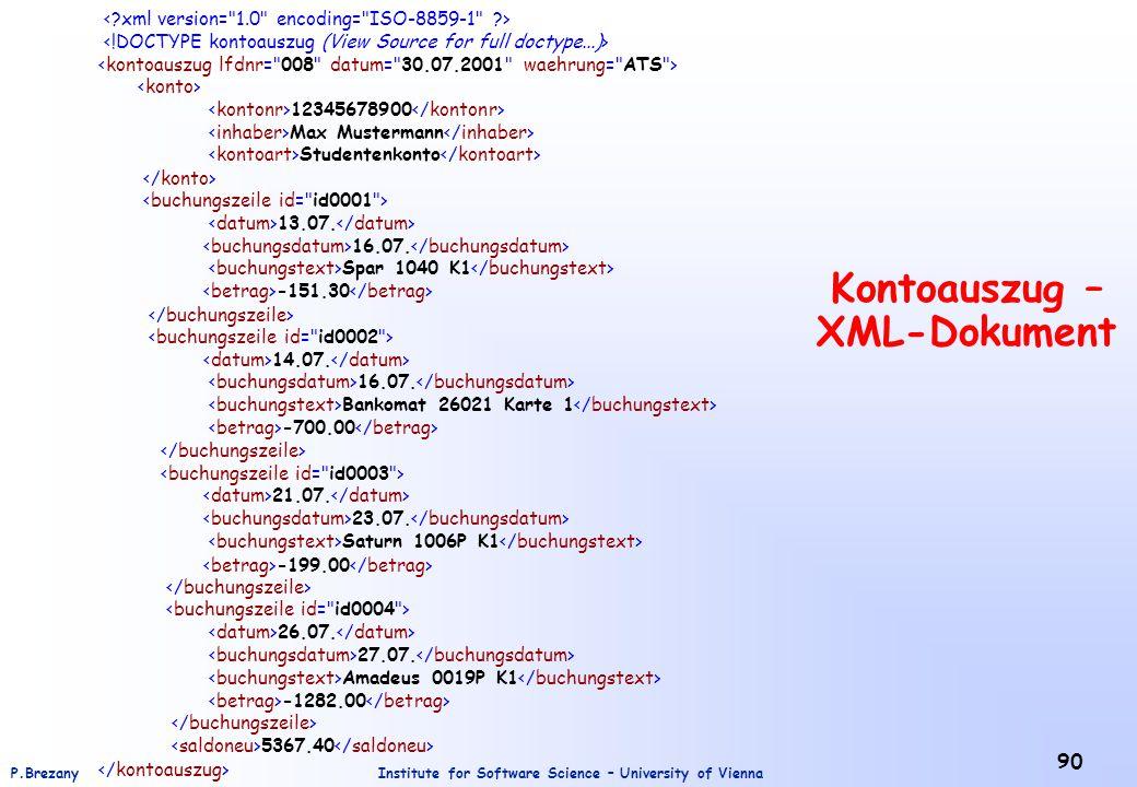 Kontoauszug – XML-Dokument