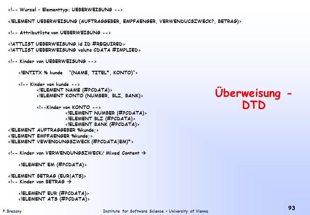 Überweisung - DTD <!-- Wurzel – Elementtyp: UEBERWEISUNG -->