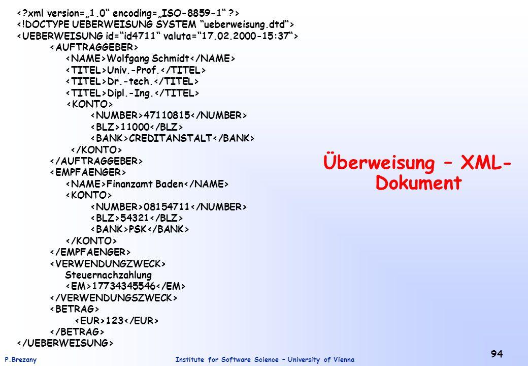 Überweisung – XML-Dokument