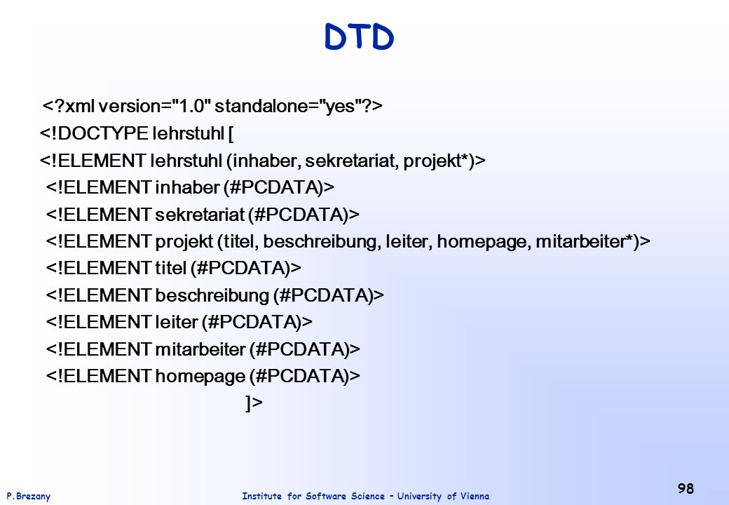 DTD < xml version= 1.0 standalone= yes >