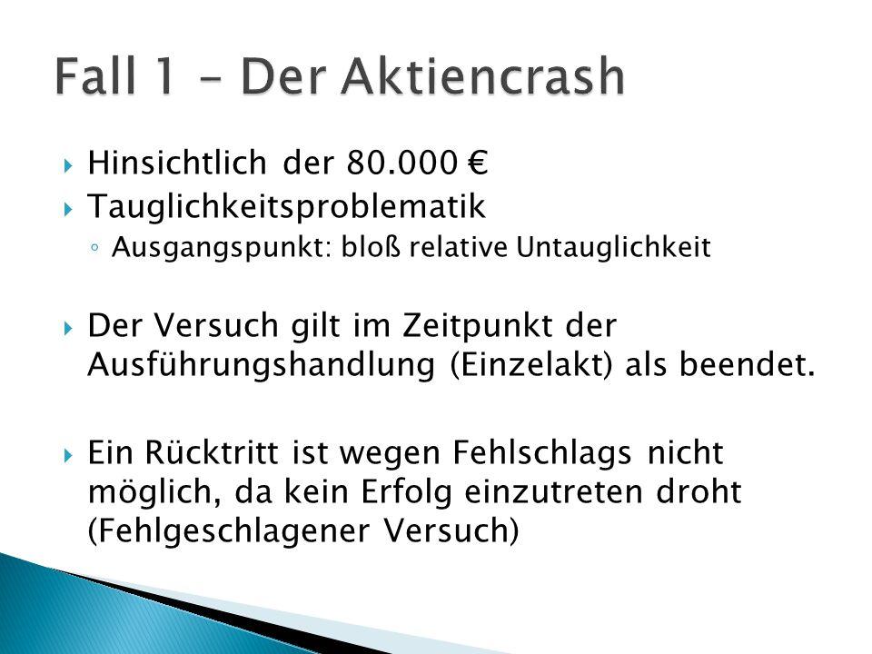 Fall 1 – Der Aktiencrash Hinsichtlich der 80.000 €