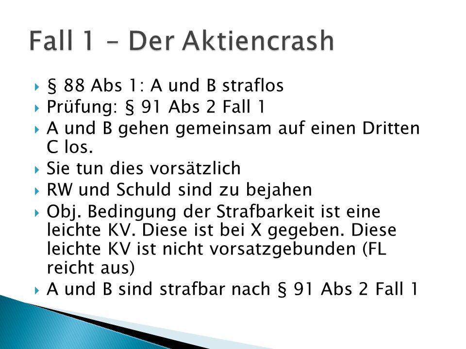 Fall 1 – Der Aktiencrash § 88 Abs 1: A und B straflos