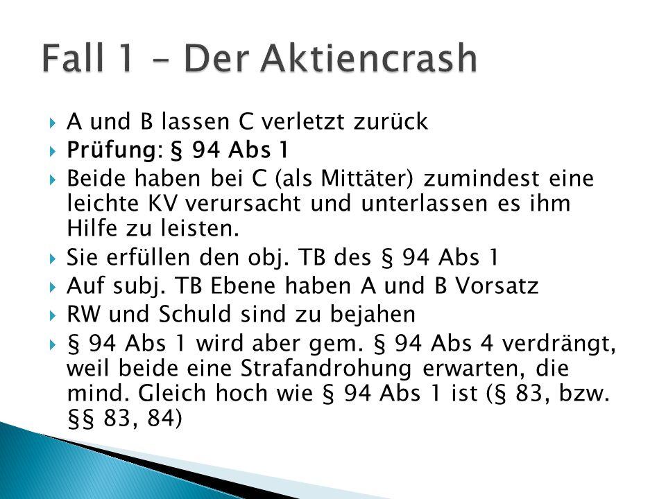 Fall 1 – Der Aktiencrash A und B lassen C verletzt zurück