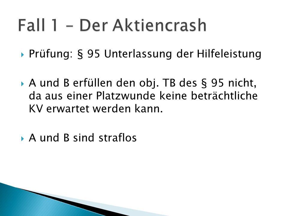 Fall 1 – Der Aktiencrash Prüfung: § 95 Unterlassung der Hilfeleistung