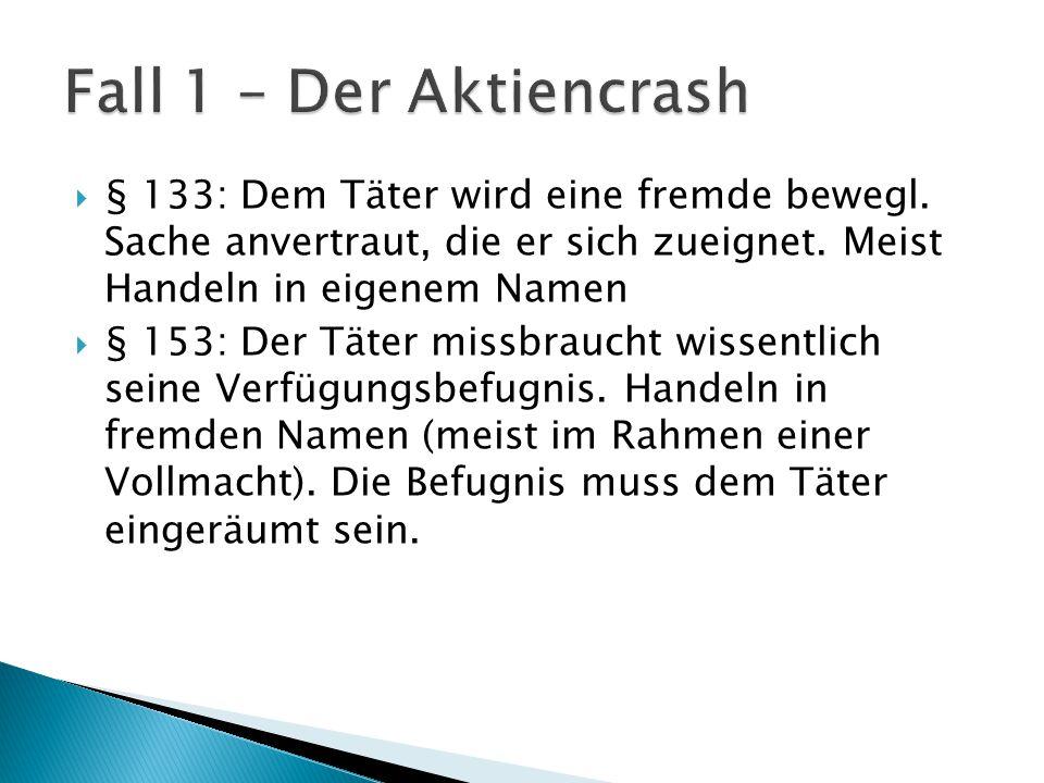 Fall 1 – Der Aktiencrash § 133: Dem Täter wird eine fremde bewegl. Sache anvertraut, die er sich zueignet. Meist Handeln in eigenem Namen.