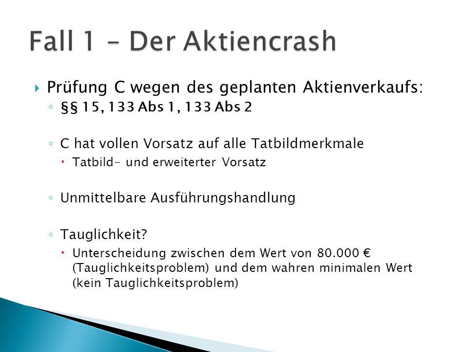 Fall 1 – Der Aktiencrash Prüfung C wegen des geplanten Aktienverkaufs: