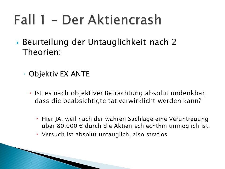Fall 1 – Der Aktiencrash Beurteilung der Untauglichkeit nach 2 Theorien: Objektiv EX ANTE.
