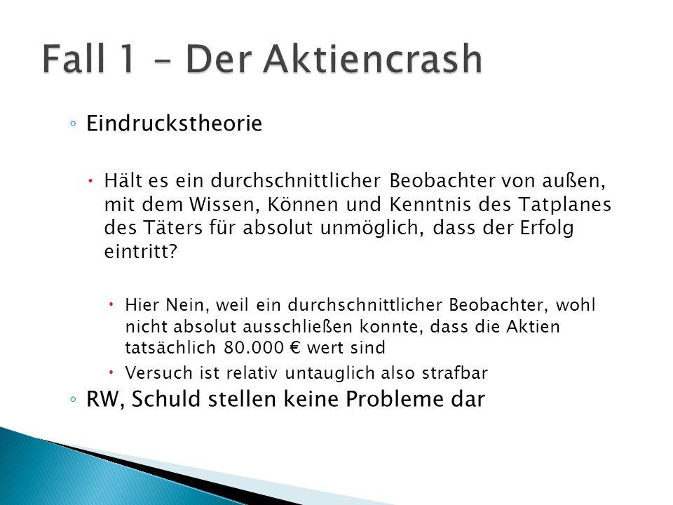 Fall 1 – Der Aktiencrash Eindruckstheorie