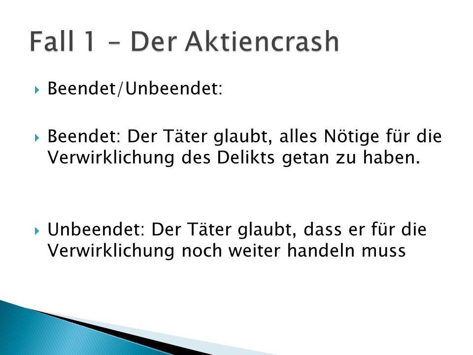 Fall 1 – Der Aktiencrash Beendet/Unbeendet: