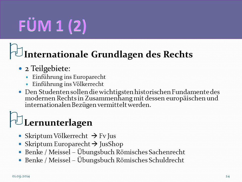 FÜM 1 (2) Internationale Grundlagen des Rechts Lernunterlagen