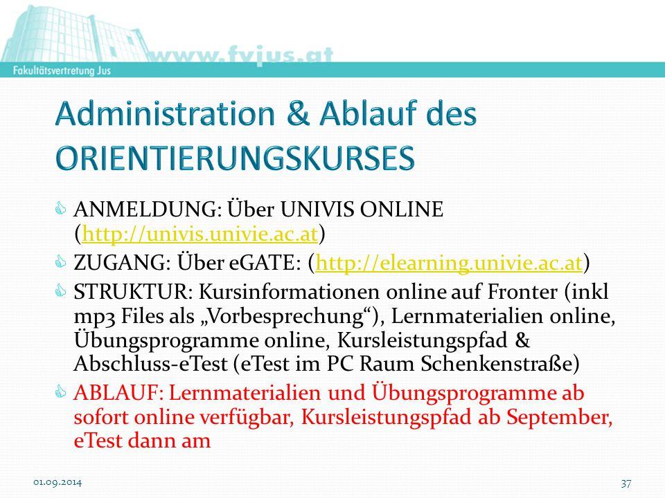 Administration & Ablauf des ORIENTIERUNGSKURSES