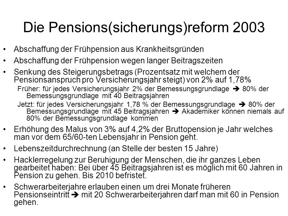 Die Pensions(sicherungs)reform 2003