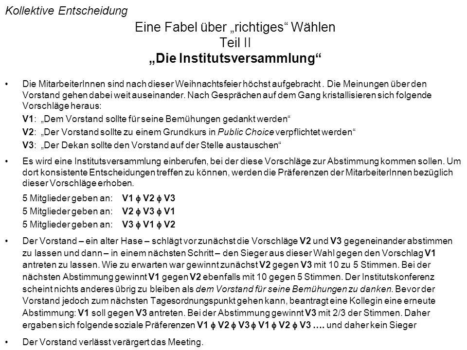 """Eine Fabel über """"richtiges Wählen Teil II """"Die Institutsversammlung"""