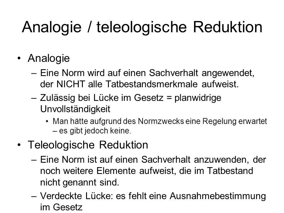 Analogie / teleologische Reduktion