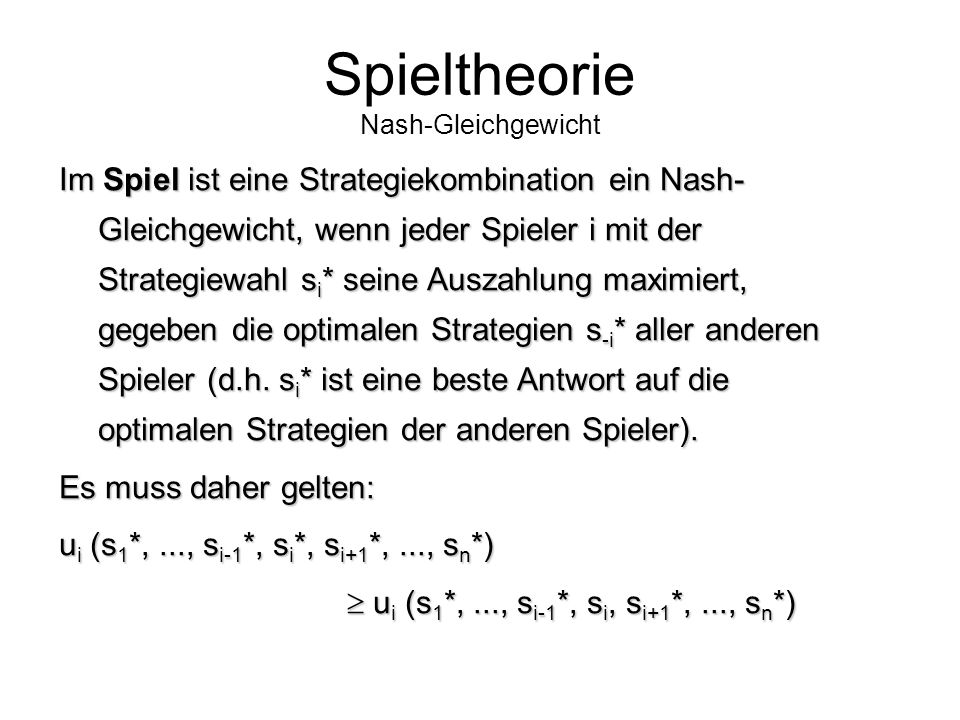 Spieltheorie Nash-Gleichgewicht