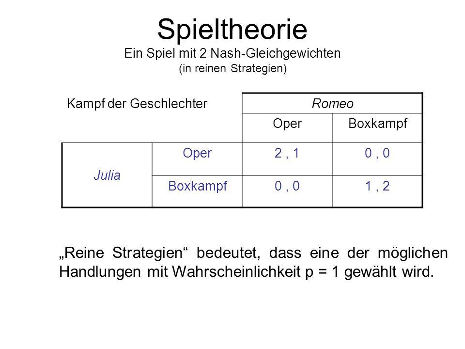 Spieltheorie Ein Spiel mit 2 Nash-Gleichgewichten (in reinen Strategien)