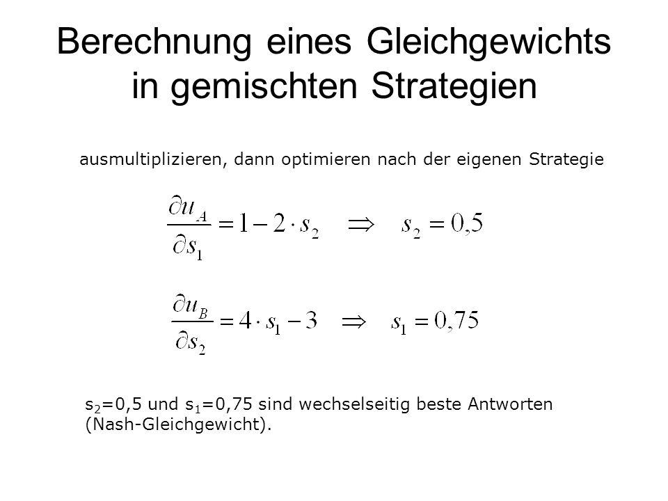 Berechnung eines Gleichgewichts in gemischten Strategien