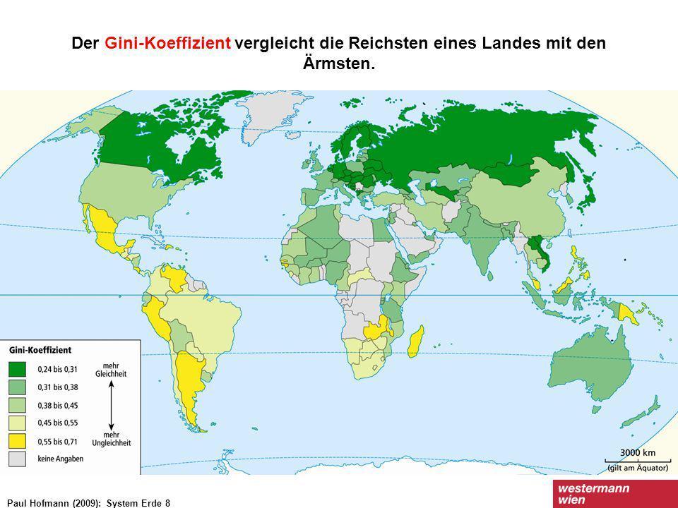 Der Gini-Koeffizient vergleicht die Reichsten eines Landes mit den Ärmsten.