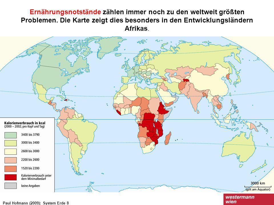 Ernährungsnotstände zählen immer noch zu den weltweit größten Problemen. Die Karte zeigt dies besonders in den Entwicklungsländern Afrikas.