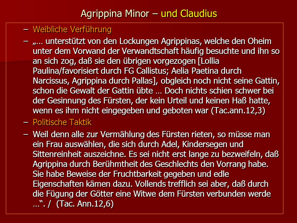 Agrippina Minor – und Claudius