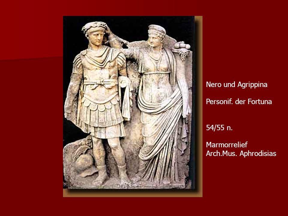 Nero und Agrippina Personif. der Fortuna 54/55 n. Marmorrelief Arch.Mus. Aphrodisias
