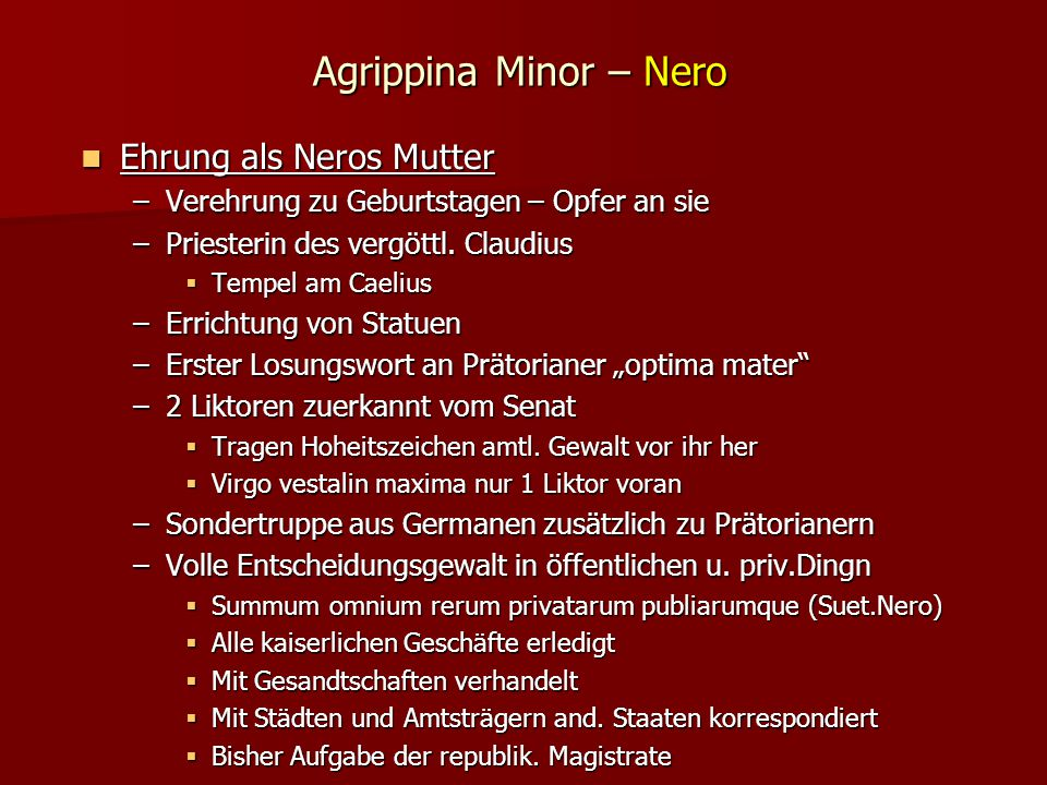 Agrippina Minor – Nero Ehrung als Neros Mutter