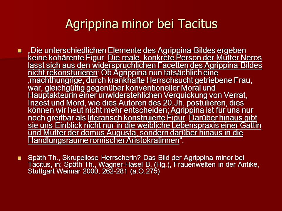 Agrippina minor bei Tacitus