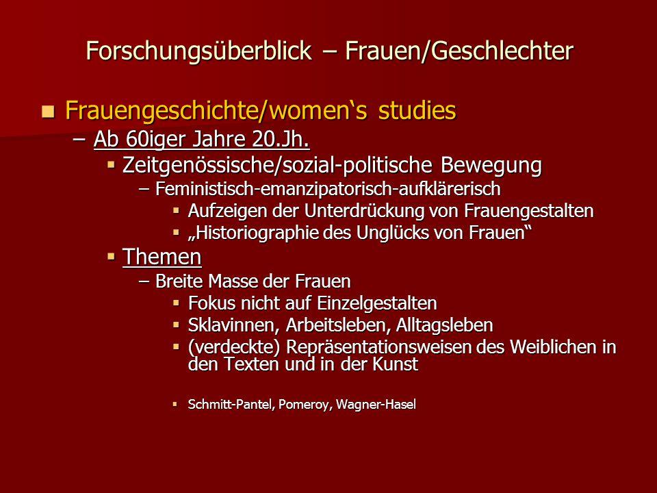 Forschungsüberblick – Frauen/Geschlechter