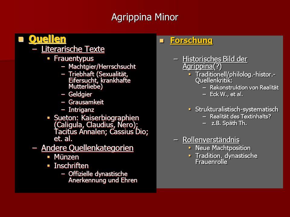 Agrippina Minor Quellen Forschung Literarische Texte