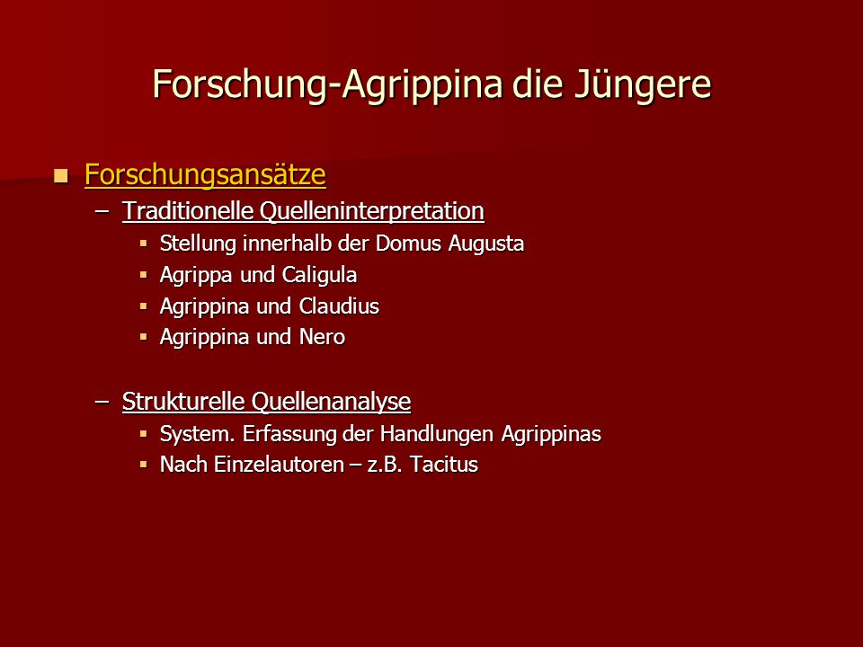 Forschung-Agrippina die Jüngere