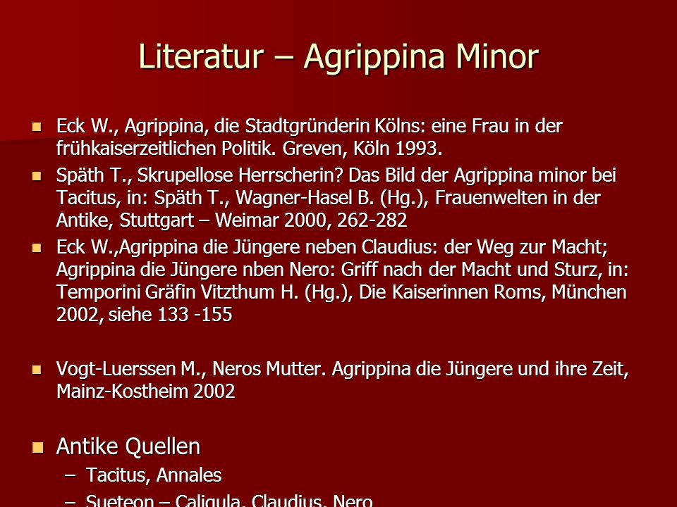 Literatur – Agrippina Minor