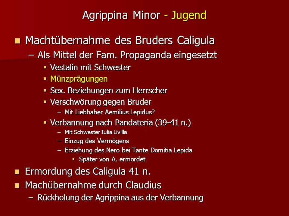 Agrippina Minor - Jugend