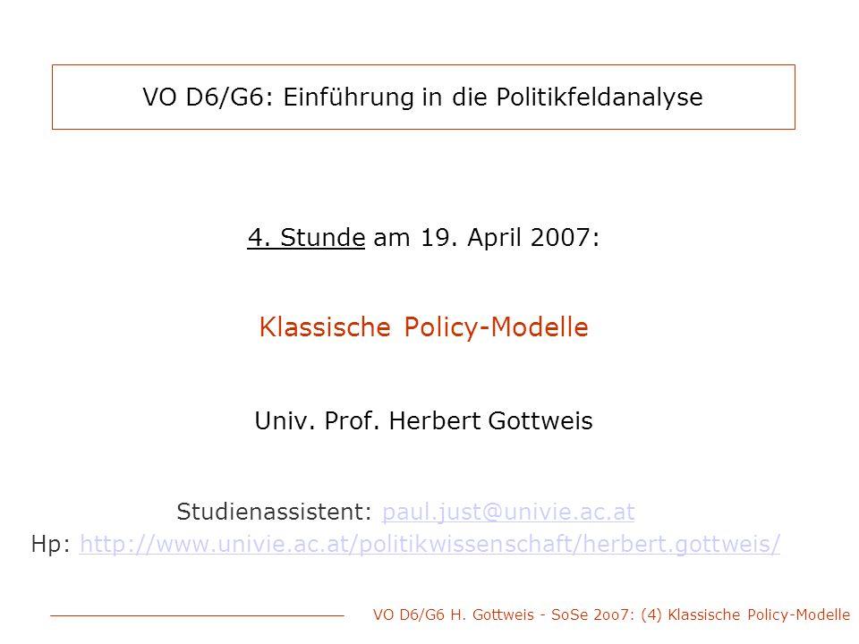 VO D6/G6: Einführung in die Politikfeldanalyse