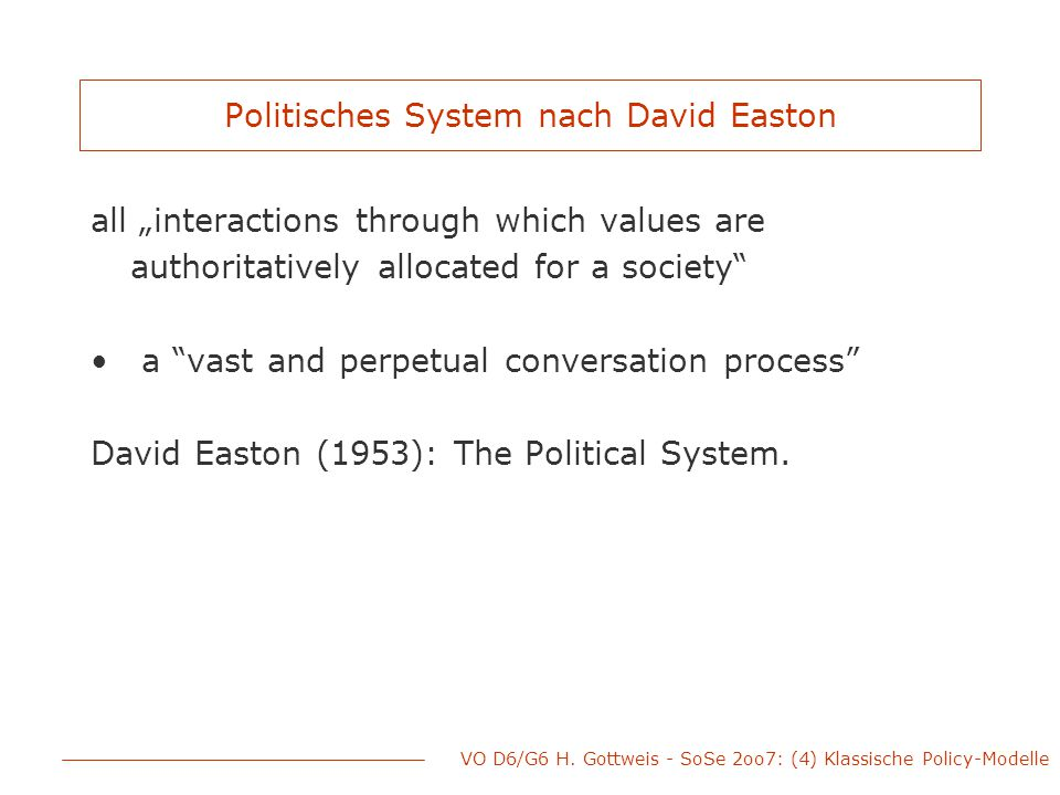 Politisches System nach David Easton