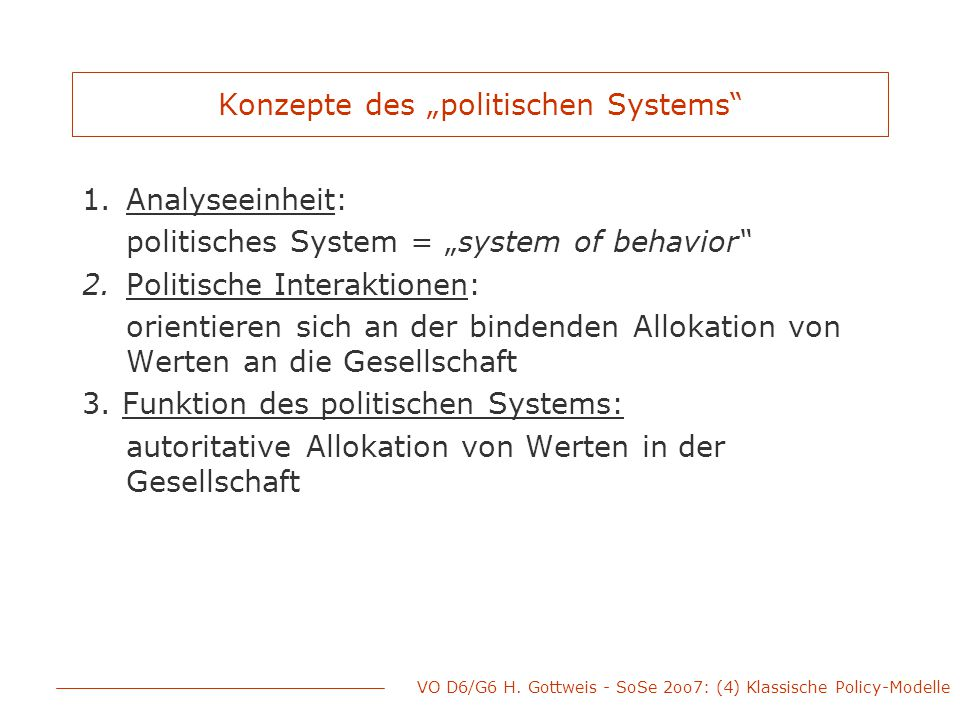 """Konzepte des """"politischen Systems"""