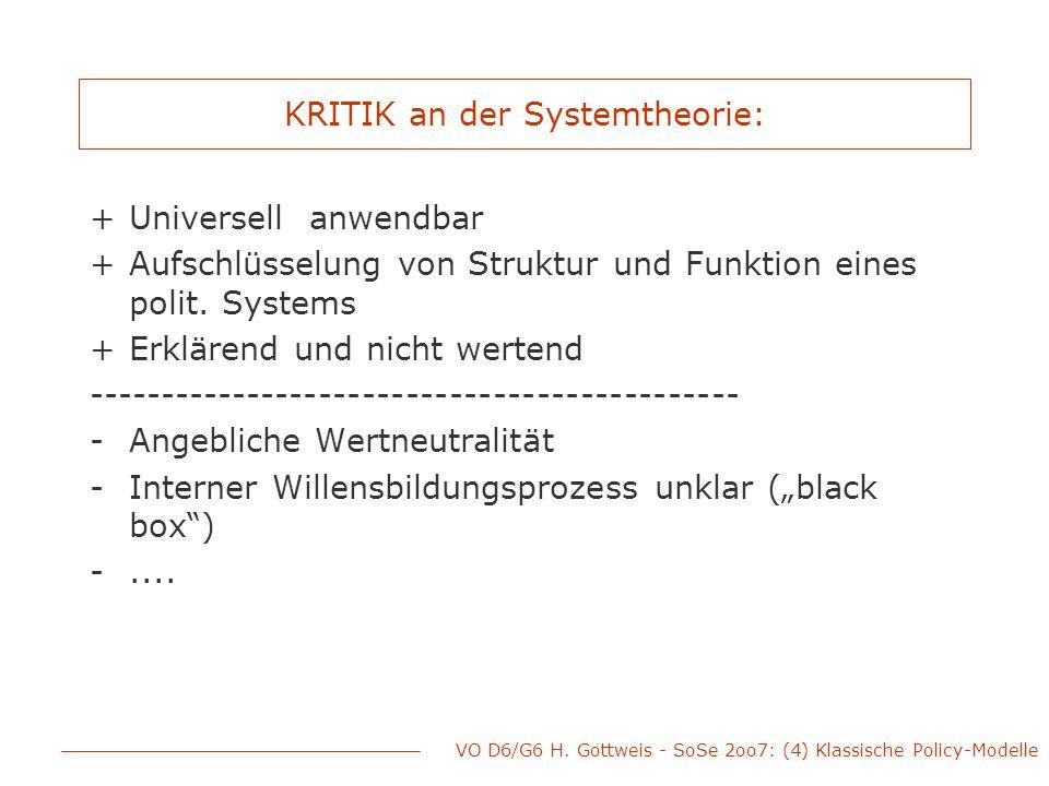 KRITIK an der Systemtheorie: