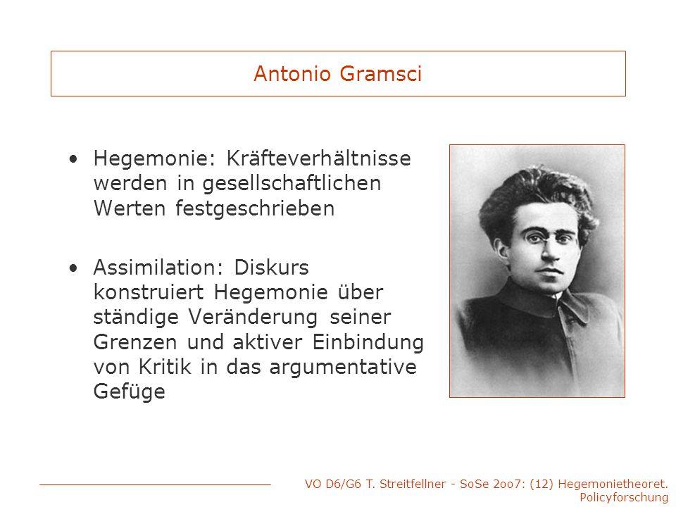 Antonio Gramsci Hegemonie: Kräfteverhältnisse werden in gesellschaftlichen Werten festgeschrieben.