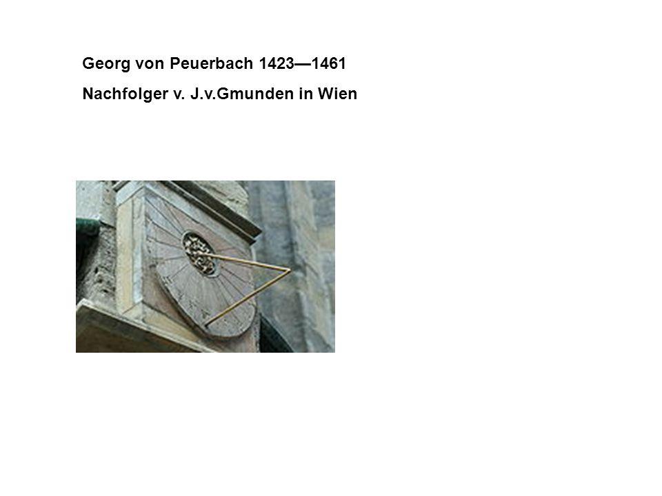 Georg von Peuerbach 1423—1461 Nachfolger v. J.v.Gmunden in Wien