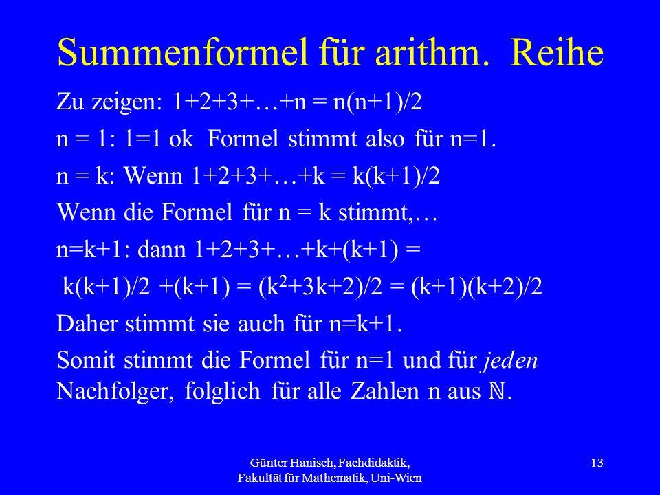 Summenformel für arithm. Reihe