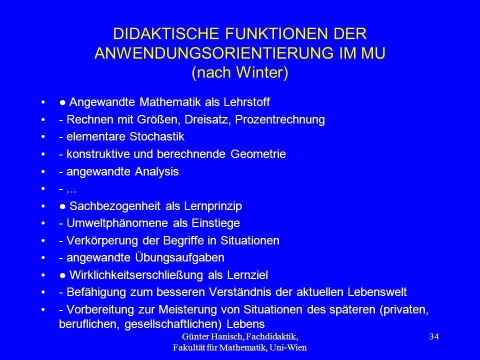 DIDAKTISCHE FUNKTIONEN DER ANWENDUNGSORIENTIERUNG IM MU (nach Winter)