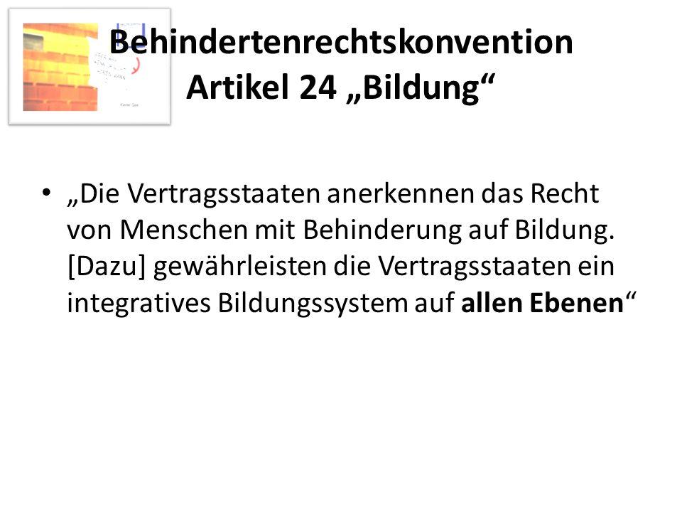 """Behindertenrechtskonvention Artikel 24 """"Bildung"""