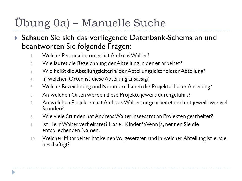 Übung 0a) – Manuelle Suche