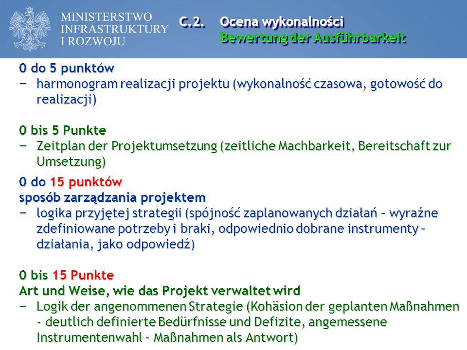 C.2. Ocena wykonalności Bewertung der Ausführbarkeit. 0 do 5 punktów. harmonogram realizacji projektu (wykonalność czasowa, gotowość do realizacji)