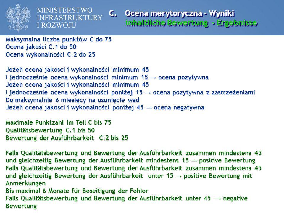 Ocena merytoryczna - Wyniki inhaltliche Bewertung - Ergebnisse