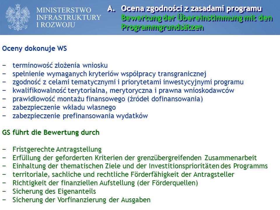 Ocena zgodności z zasadami programu Bewertung der Übereinstimmung mit den Programmgrundsätzen