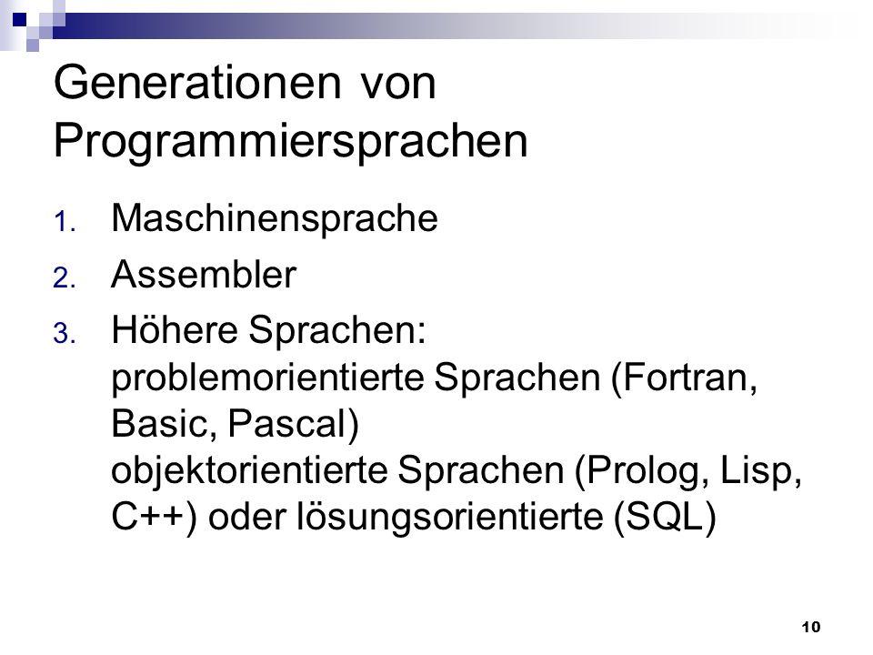 Generationen von Programmiersprachen