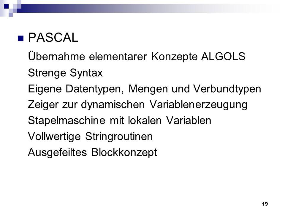 Übernahme elementarer Konzepte ALGOLS