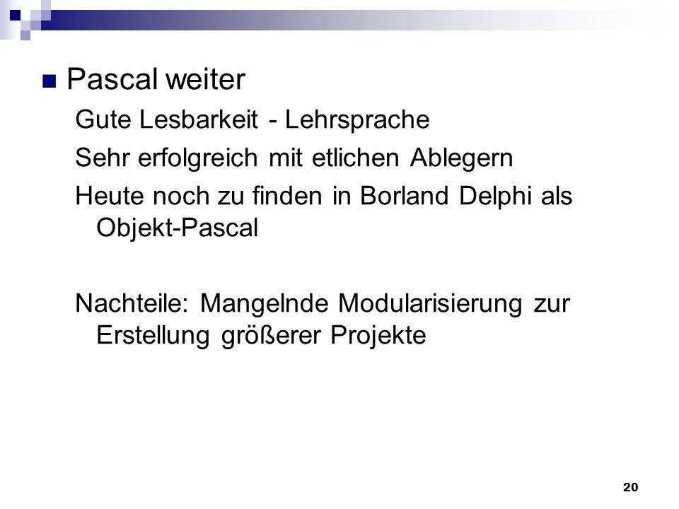 Pascal weiter Gute Lesbarkeit - Lehrsprache