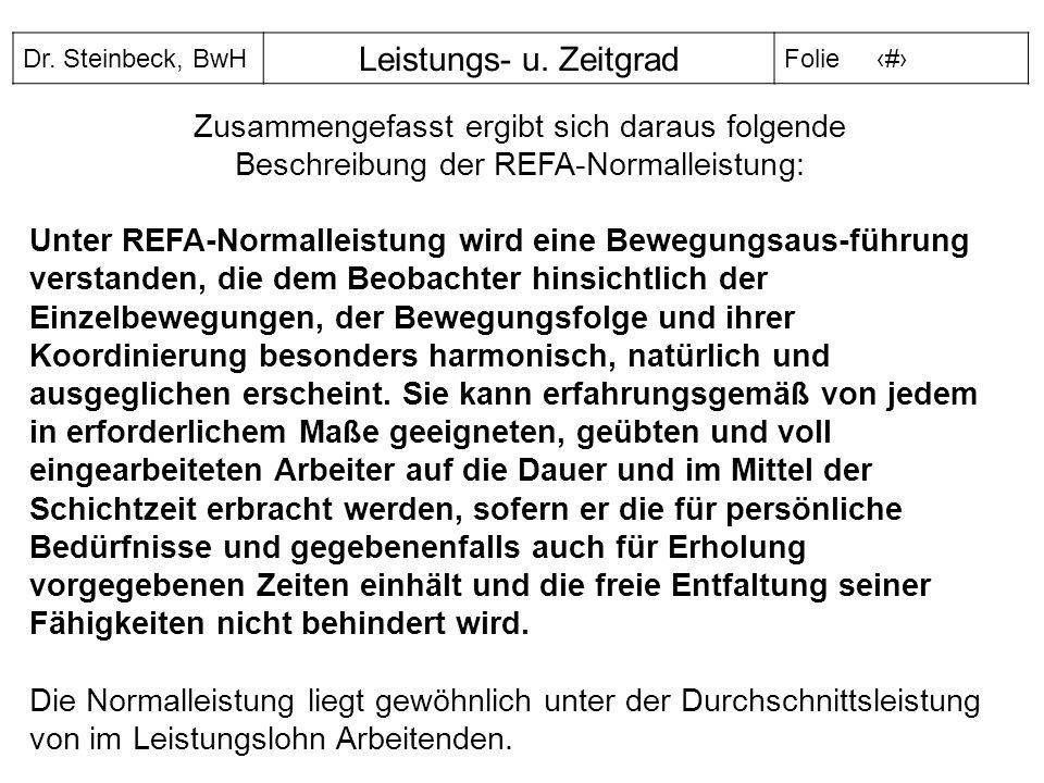 Zusammengefasst ergibt sich daraus folgende Beschreibung der REFA-Normalleistung:
